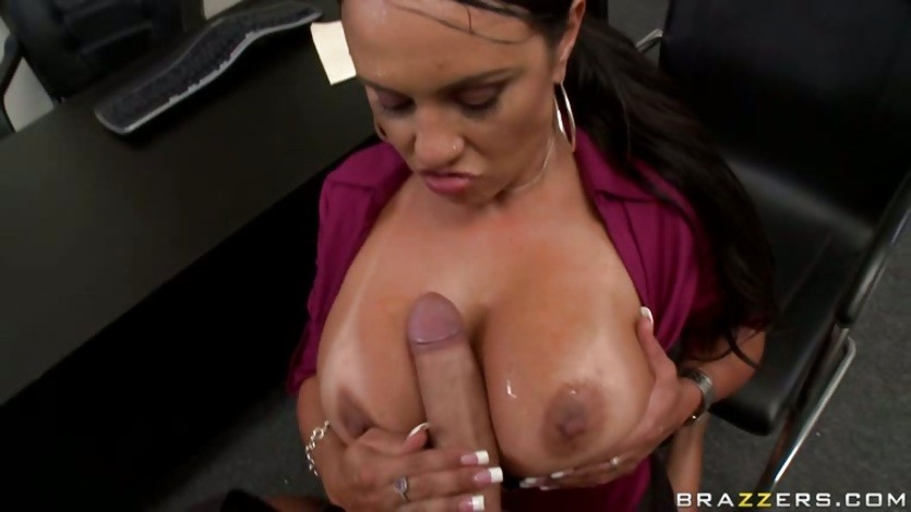 Big titted Mariah Milano give her boss a tit wank